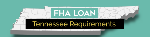 picture of downtown Nashville Tennessee with a teal and tan banner with the words FHA Loan Tennessee Requirements