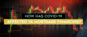 Multi-colored digital graph with text over top How has Covid-19 affected VA mortgage financing?