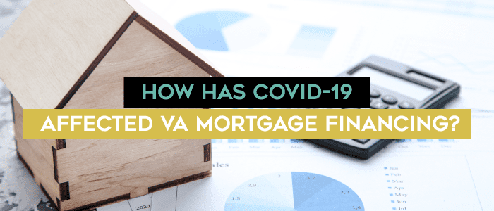 small model house and claculator on top o paper printed with pie charts and data points with the text over it How has Covid-19 affected VA mortgage financing?""