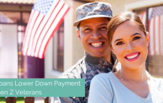 a military couple around generation z's age with an american flag in the background and a banner stating that more gen zers are getting VA loans due to the low down payment