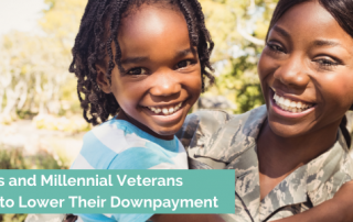 a military woman holding her child smiling big because millenial veterans can get a VA loan with little to no downpayment